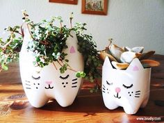 cat vases made from bottles